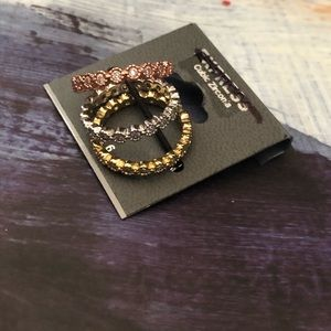 NWT Express CZ ring trio set gold & silver size 6